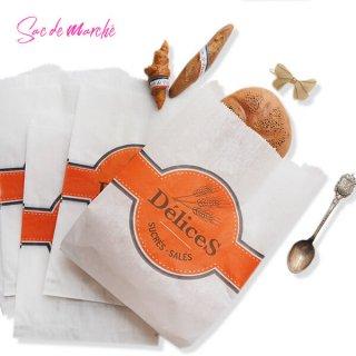 マルシェ袋 フランス 海外市場の紙袋(Delices・Orange)5枚セット