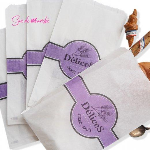 マルシェ袋 フランス 海外市場の紙袋(Delices・Purple)5枚セット【画像4】