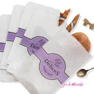 マルシェ袋 フランス 海外市場の紙袋(Delices・Purple)5枚セット