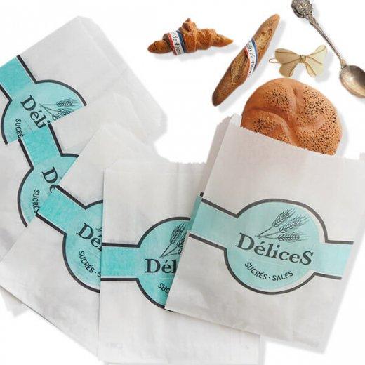 マルシェ袋 フランス 海外市場の紙袋(Delices・Light blue)5枚セット