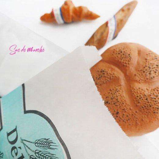 マルシェ袋 フランス 海外市場の紙袋(Delices・Light blue)5枚セット【画像2】