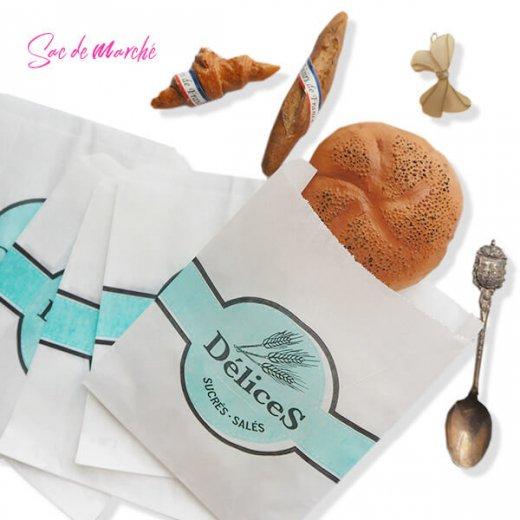マルシェ袋 フランス 海外市場の紙袋(Delices・Light blue)5枚セット【画像3】