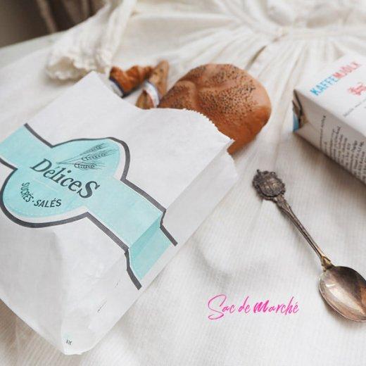 マルシェ袋 フランス 海外市場の紙袋(Delices・Light blue)5枚セット【画像6】