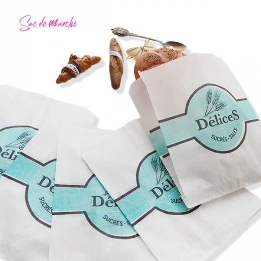 マルシェ袋 フランス 海外市場の紙袋(Delices・Light blue)5枚セット【画像7】
