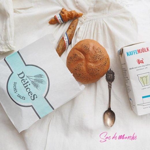 マルシェ袋 フランス 海外市場の紙袋(Delices・Light blue)5枚セット【画像8】