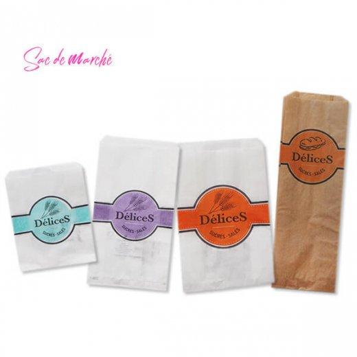 マルシェ袋 フランス 海外市場の紙袋(Delices・Light blue)5枚セット【画像9】