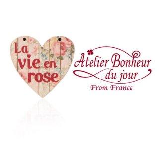 バラ ローズ 雑貨 フランス輸入ボタン アトリエ・ボヌール・ドゥ・ジュール【ハート文字 la vie en rose B 】