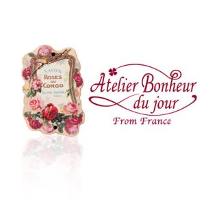 輸入 木製ボタン 花 車 その他 フランス輸入ボタン アトリエ・ボヌール・ドゥ・ジュール【バラ savon roses du congo】