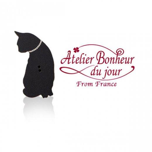 フランス輸入ボタン アトリエ・ボヌール・ドゥ・ジュール【黒猫 Le Chat noir A】