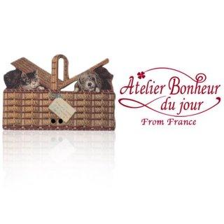 フランス輸入ボタン アトリエ・ボヌール・ドゥ・ジュール【猫 犬 バスケット 】