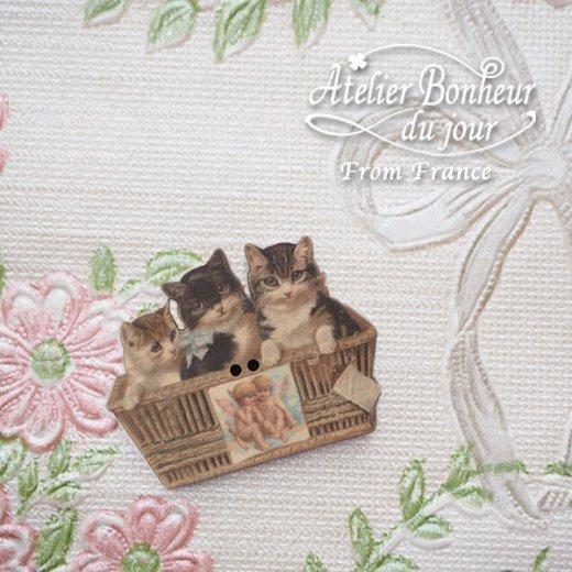 フランス輸入ボタン アトリエ・ボヌール・ドゥ・ジュール【猫 天使 かご 】【画像5】