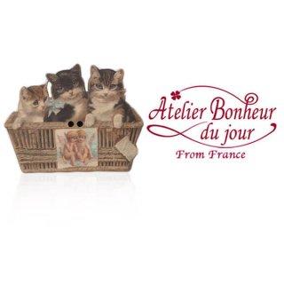 フランス輸入ボタン アトリエ・ボヌール・ドゥ・ジュール【猫 天使 かご 】