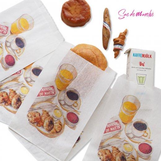 マルシェ袋 フランス 海外市場の紙袋(Petit dejeuner)5枚セット