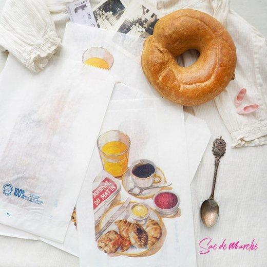 マルシェ袋 フランス 海外市場の紙袋(Petit dejeuner)5枚セット【画像2】