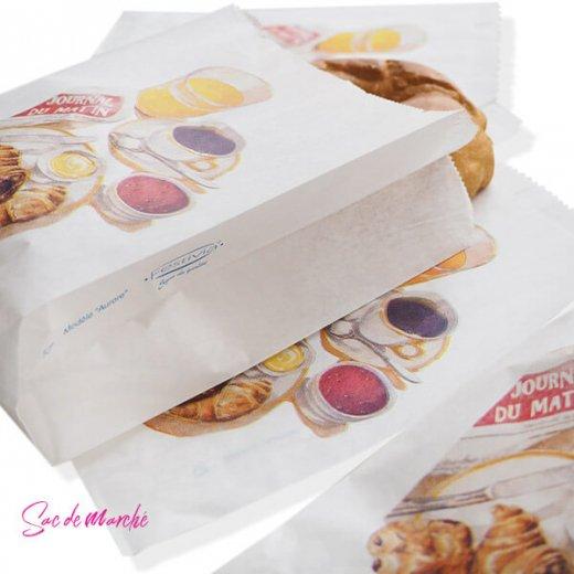 マルシェ袋 フランス 海外市場の紙袋(Petit dejeuner)5枚セット【画像3】