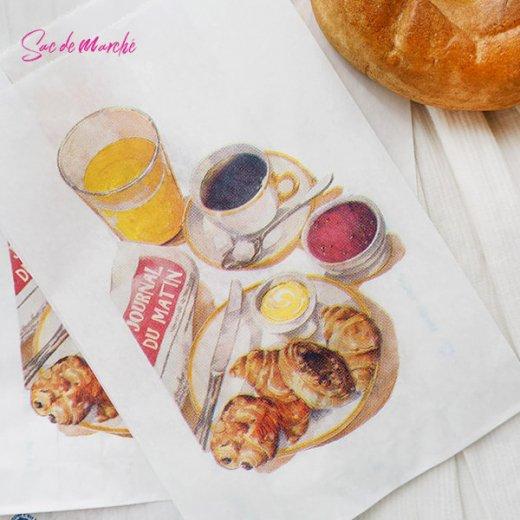 マルシェ袋 フランス 海外市場の紙袋(Petit dejeuner)5枚セット【画像5】