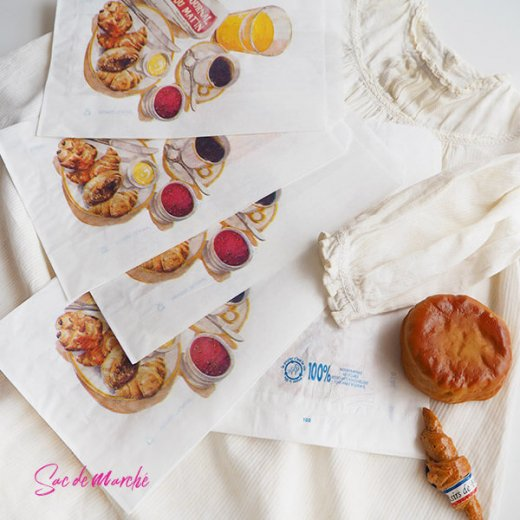 マルシェ袋 フランス 海外市場の紙袋(Petit dejeuner)5枚セット【画像7】