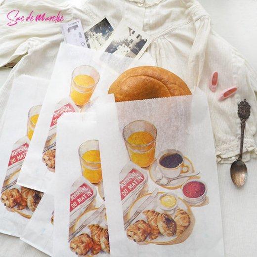マルシェ袋 フランス 海外市場の紙袋(Petit dejeuner)5枚セット【画像9】