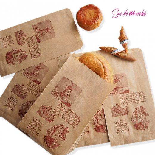 マルシェ袋 フランス 海外市場の紙袋(Roue a eau)5枚セット