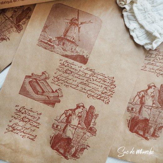マルシェ袋 フランス 海外市場の紙袋(Roue a eau)5枚セット【画像2】