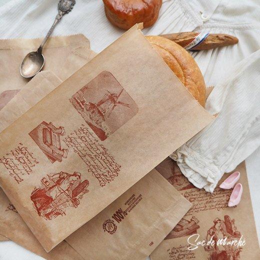 マルシェ袋 フランス 海外市場の紙袋(Roue a eau)5枚セット【画像3】