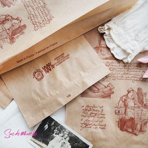 マルシェ袋 フランス 海外市場の紙袋(Roue a eau)5枚セット【画像4】