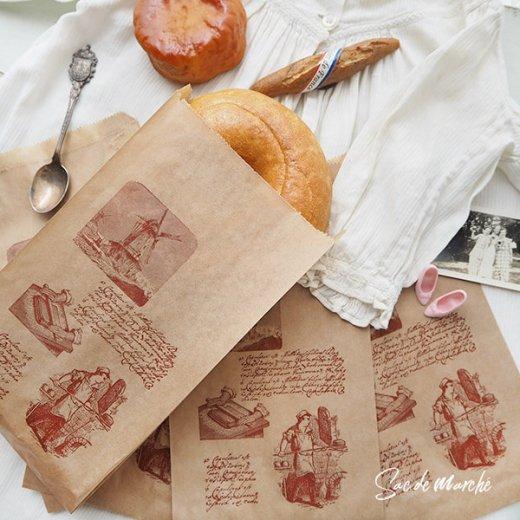マルシェ袋 フランス 海外市場の紙袋(Roue a eau)5枚セット【画像6】
