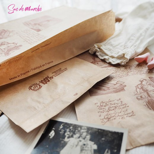 マルシェ袋 フランス 海外市場の紙袋(Roue a eau)5枚セット【画像8】