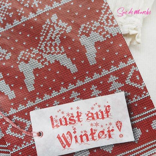 マルシェ袋 ドイツ 海外市場の紙袋(クリスマス・レッドM)5枚セット【画像2】