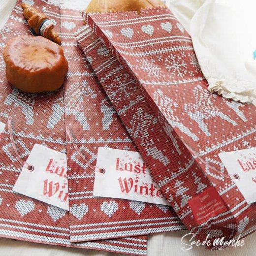 マルシェ袋 ドイツ 海外市場の紙袋(クリスマス・レッドM)5枚セット【画像3】