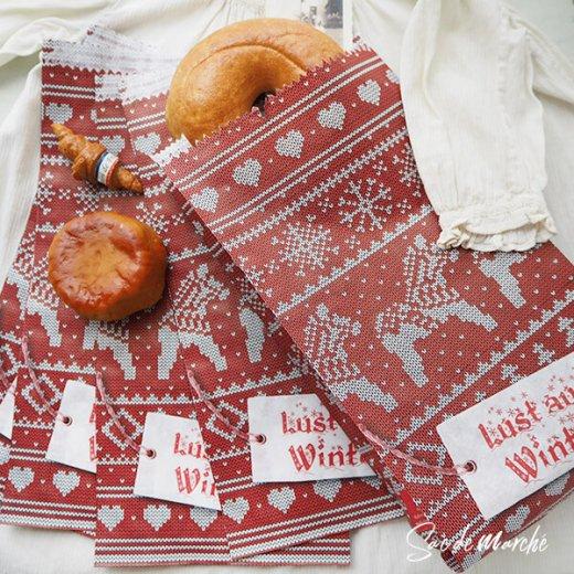 マルシェ袋 ドイツ 海外市場の紙袋(クリスマス・レッドM)5枚セット【画像6】