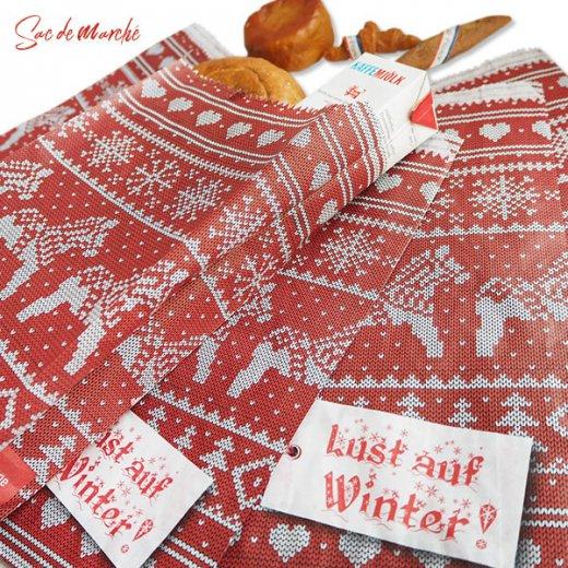 マルシェ袋 ドイツ 海外市場の紙袋(クリスマス・レッドM)5枚セット【画像7】