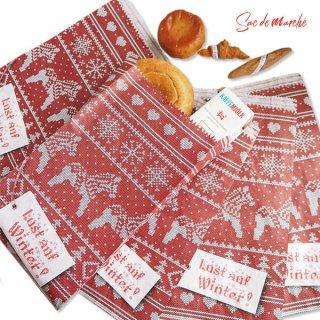 マルシェ袋 ドイツ 海外市場の紙袋(クリスマス・レッドM)5枚セット