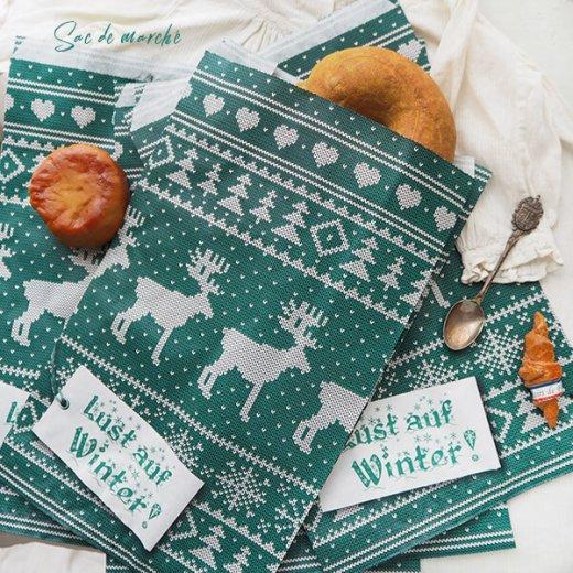 マルシェ袋 ドイツ 海外市場の紙袋(クリスマス・グリーンL)5枚セット【画像2】