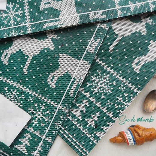 マルシェ袋 ドイツ 海外市場の紙袋(クリスマス・グリーンL)5枚セット【画像3】