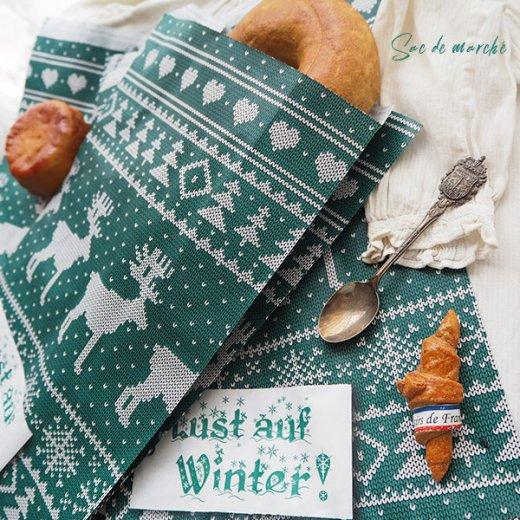 マルシェ袋 ドイツ 海外市場の紙袋(クリスマス・グリーンL)5枚セット【画像5】