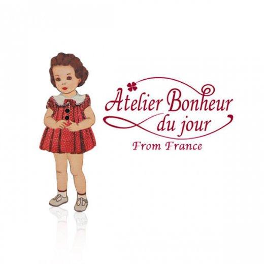 フランス輸入ボタン アトリエ・ボヌール・ドゥ・ジュール【赤いドットワンピースの女の子】