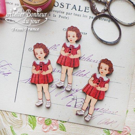 フランス輸入ボタン アトリエ・ボヌール・ドゥ・ジュール【赤いドットワンピースの女の子】【画像5】