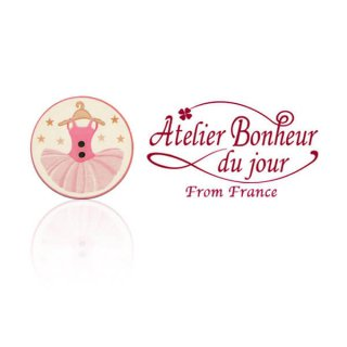 輸入 木製ボタン 音楽  フランス輸入ボタン アトリエ・ボヌール・ドゥ・ジュール【バレリーナ チュチュ】