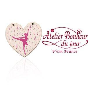 輸入 木製ボタン 音楽 フランス輸入ボタン アトリエ・ボヌール・ドゥ・ジュール【バレリーナ ピンクシルエット】