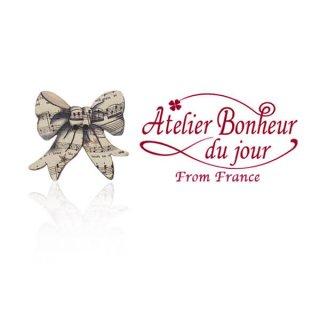 輸入 木製ボタン 音楽 フランス輸入ボタン アトリエ・ボヌール・ドゥ・ジュール【リボン 楽譜柄】