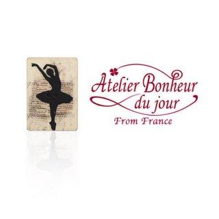 輸入ボタン アトリエ・ボヌール  フランス輸入ボタン アトリエ・ボヌール・ドゥ・ジュール【バレリーナシルエットモノトーンB】