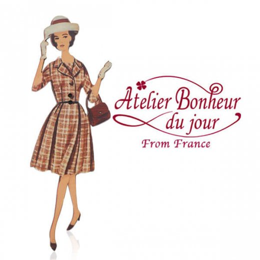 フランス輸入ボタン アトリエ・ボヌール・ドゥ・ジュール【チェック柄のワンピースの女性】