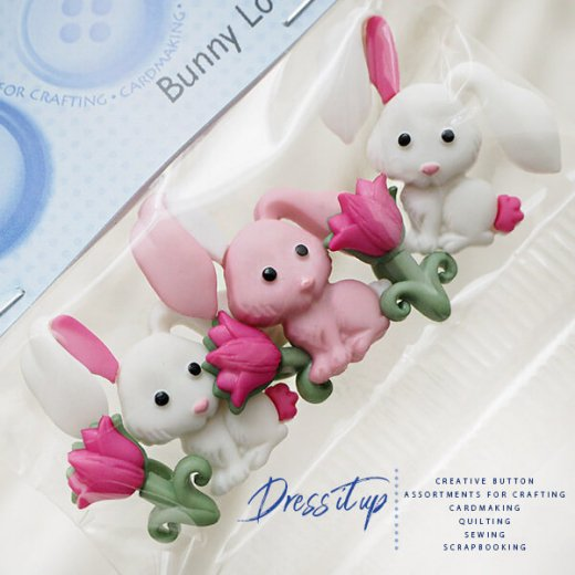 USA Dress It Up ボタン クラフト素材(Bunny Love)【画像2】