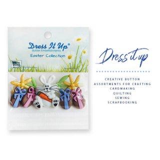 手芸用品 ハンドメイド 素材 USA Dress It Up ボタン クラフト素材(イースター 復活祭 Bunny Hop)