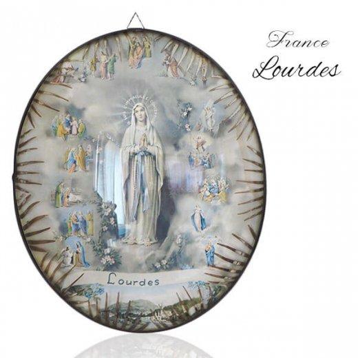 【送料無料】フランス ルルドの泉  アンティーク ガラスドーム 壁掛け フレーム【聖母マリア】