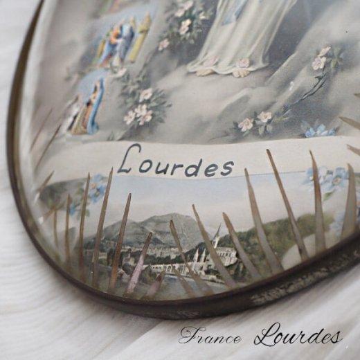【送料無料】フランス ルルドの泉  アンティーク ガラスドーム 壁掛け フレーム【聖母マリア】【画像5】