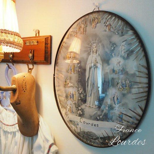【送料無料】フランス ルルドの泉  アンティーク ガラスドーム 壁掛け フレーム【聖母マリア】【画像9】