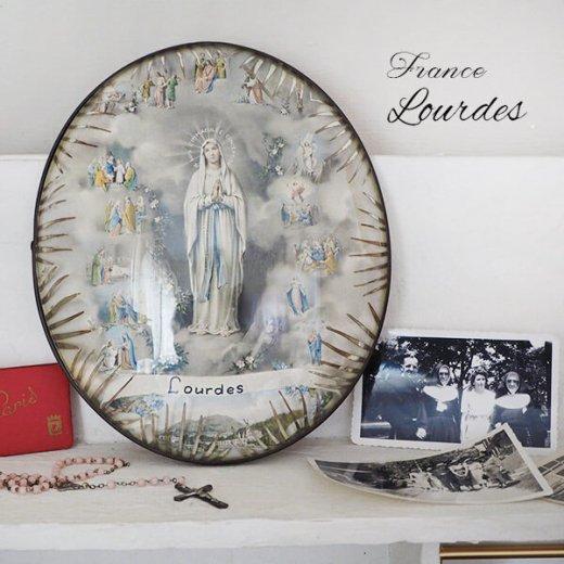 【送料無料】フランス ルルドの泉  アンティーク ガラスドーム 壁掛け フレーム【聖母マリア】【画像10】