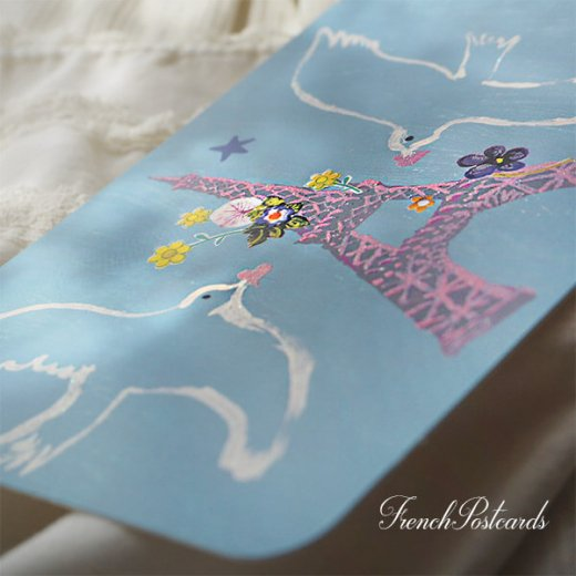 エッフェル塔 ポストカード (幸せを呼ぶハト)キラキラ加工付き【画像2】